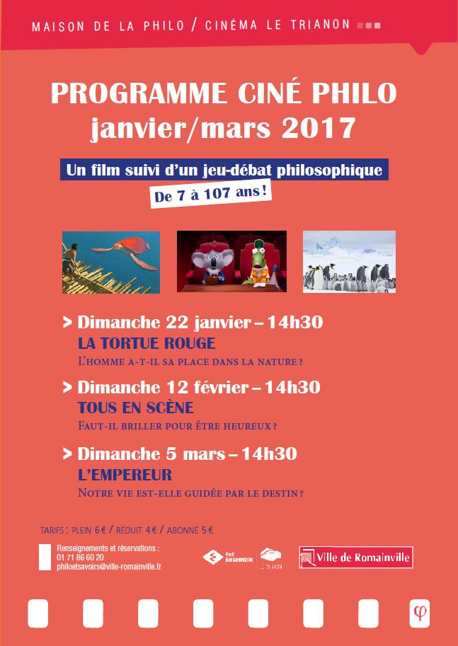 Programme Ciné-Philo Janvier - Mars 2017 page 1