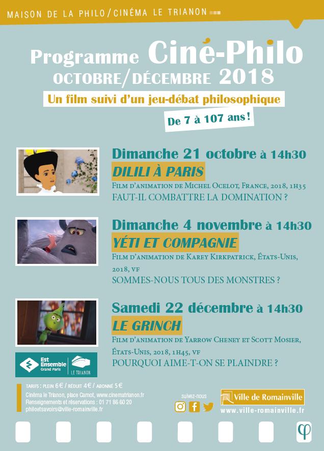 Programme Ciné-Philo Octobre - Décembre 2018 page 1