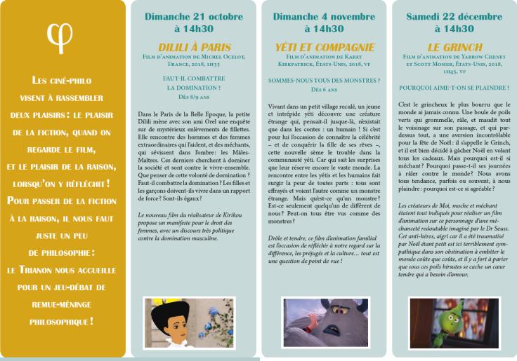Programme Ciné-Philo Octobre - Décembre 2018 page 2