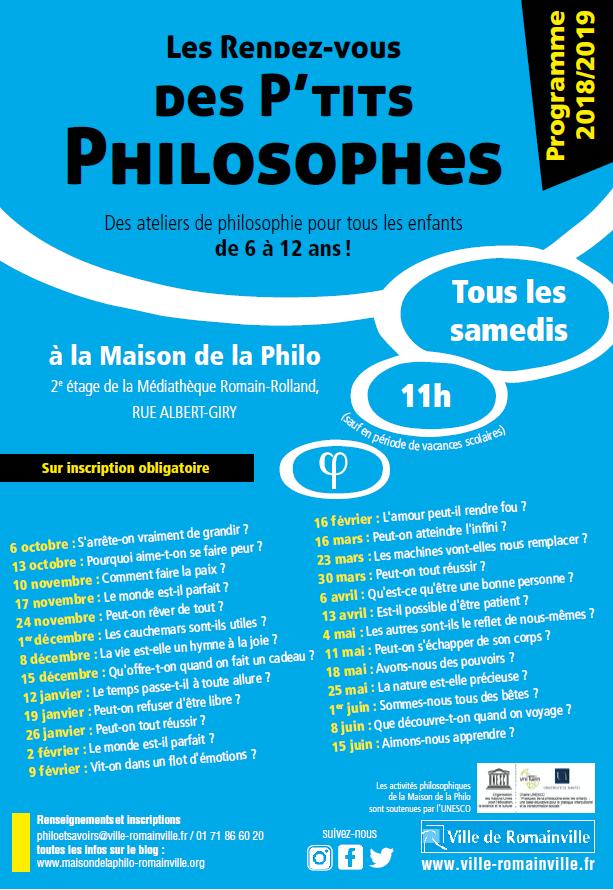 Programme des Rendez-vous des P'tits Philosophes 2018-2019